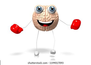 3D illustration/ 3D rendering - brain cartoon character wearing boxing gloves