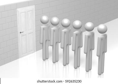 3D illustration/ 3D rendering - cartoon characters waiting in queue, wooden door.