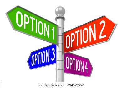 "3D illustration/ 3D rendering - colorful signpost - ""option 1"", ""option 2"", ""option 3"", ""option 4""."