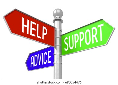 """3D illustration/ 3D rendering - colorful signpost with three arrows - """"help"""", """"support"""", """"advice""""."""