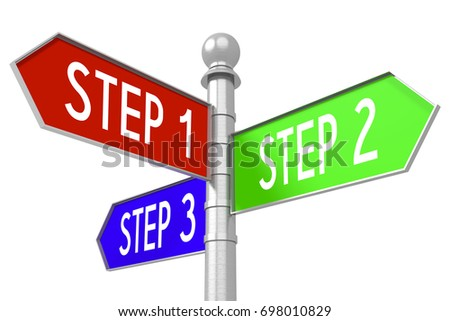 3 D Illustration Rendering Colorful Signpost Stock