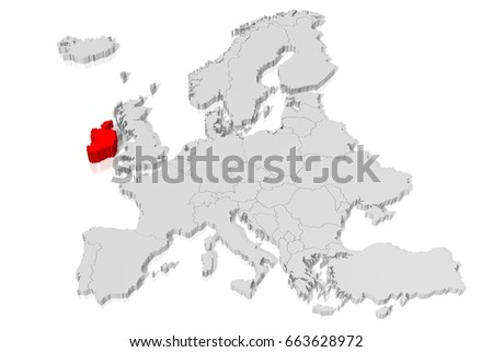 Country Map Of Ireland.3 D Illustration 3 D Rendering Country Map Stock Illustration