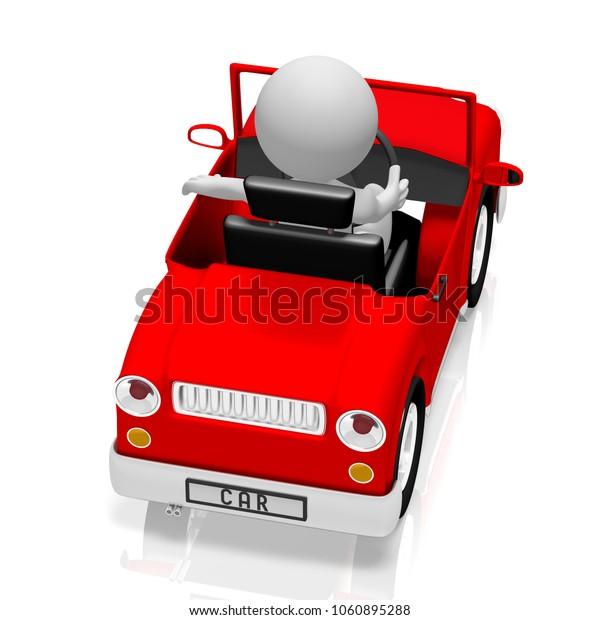 3D illustration/ 3D rendering - Driver, red car