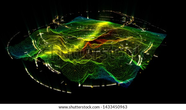 3d illustration, 3d rendering, futuristic Holographic Terrain environment, geomorphology, topography and digital data telemetry information blur, de-focused, motion graphic user interface head up disp