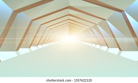 3D illustration rendering Futuristic tunnel abstract geometric background and light beam flicker. Interior design architecture concept.