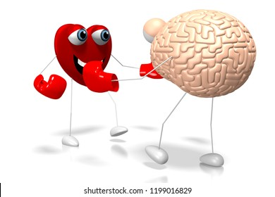 3D illustration/ 3D rendering - heart and brain cartoon characters - boxing, fight