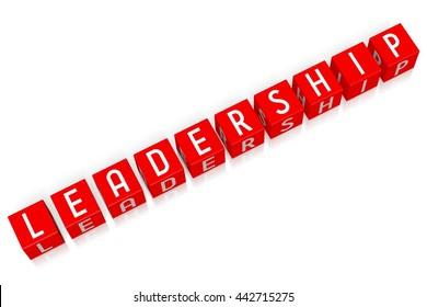 3D illustration/ 3D rendering - Leadership - 3D cube word