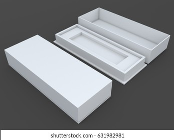 3D illustration, 3D rendering mock up clean white packaging for gadget products in isolated background with work paths, clipping paths included.