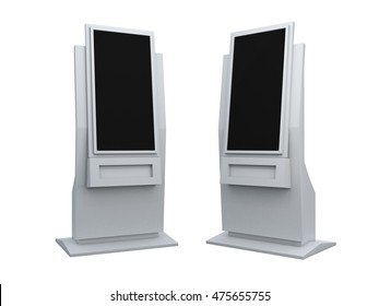 3D Illustration Rendering Mock up kiosk touch screen for information in isolated background with work paths, clipping paths included.