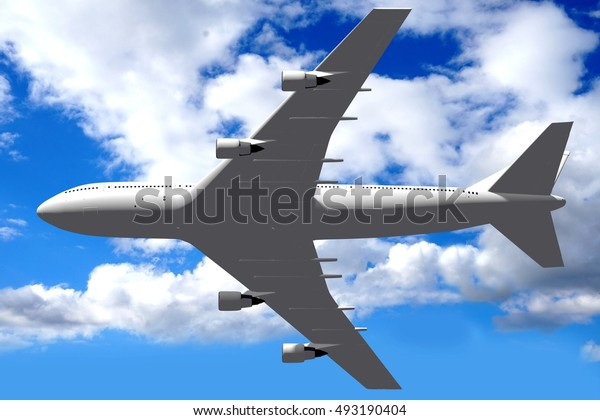 3D illustration/ 3D rendering - passenger jet plane.