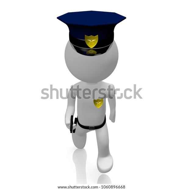 3D illustration/ 3D rendering - Policeman with a gun