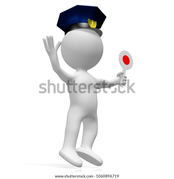 3D illustration/ 3D rendering - policeman holding stop sign