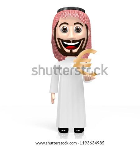 3 D Illustration 3 D Rendering Rich Arab Stock Illustration