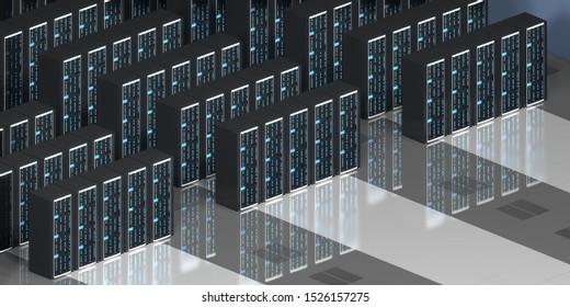 3D illustration/ 3D rendering - server room/ data center - storage, hosting concept.