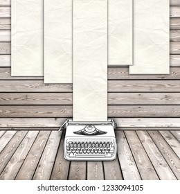 3d illustration rendering of sketch drawing of typewriter and blank old paper sheet frames on wooden background