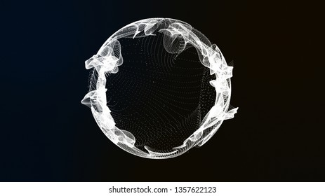 3D illustration rendering Sphere circle digital abstract particles form grid lines,  white surface.