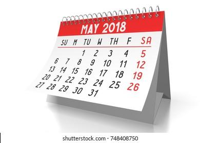 3D illustration/ 3D rendering - table calendar 2018 - May