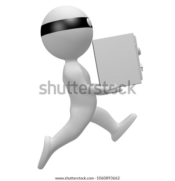 3D illustration/ 3D rendering - Thief holidng a vault