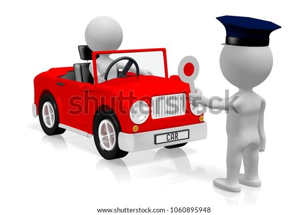 3D illustration/ 3D rendering - Vehicle check - car, policeman