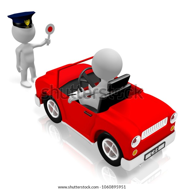 3D illustration/ 3D rendering - Vehicle check - car, policeman