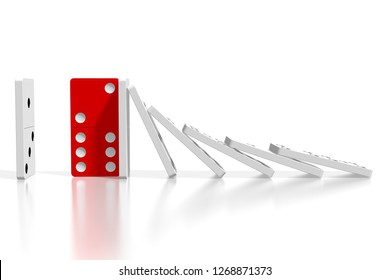 3D illustration/ 3D rendering - white and red dominoes - resistance concept