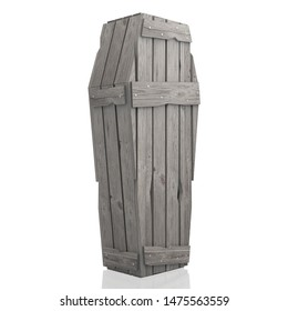 3D illustration/ 3D rendering - wooden coffin/ casket isolated on white background