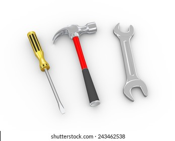 3d illustration of repairing tool claw hammer, wrench and screwdriver