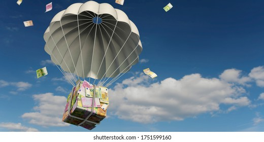 3D illustration, An rescue package falls from the sky