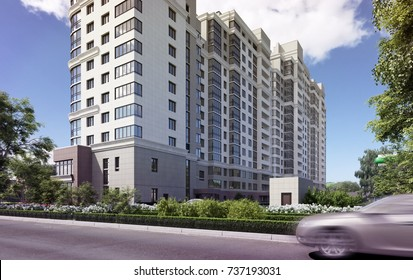 3D illustration residential complex, trading comlex; bird's-eye view; panorama; 300 dpi