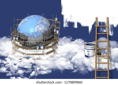 3D illustration. Restructuring and reclamation of the earth globe.