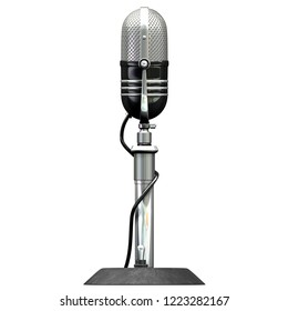 3D illustration of Retro Microphone isolated on white background