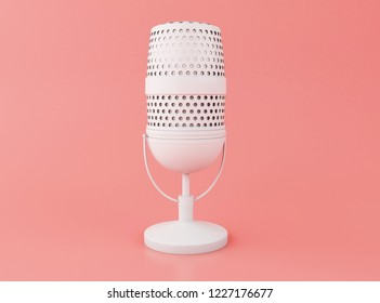 3d illustration. Retro a microphone on a pink background.
