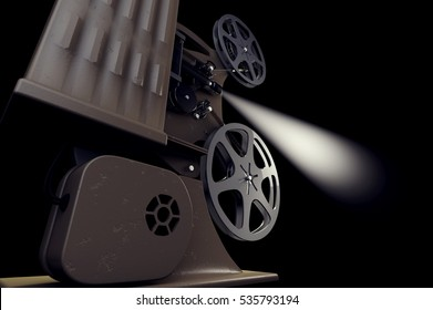 3D illustration of retro movie projector with light beam isolated on black back side view