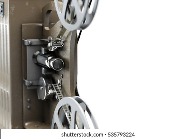 3D illustration of retro movie projector isolated on white close up view