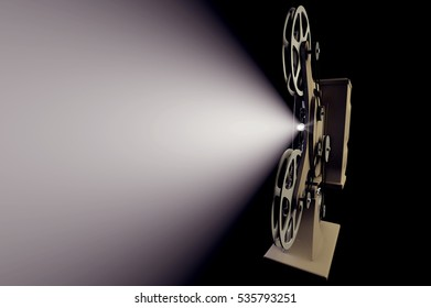 3D illustration of retro movie projector with light beam isolated on black front view