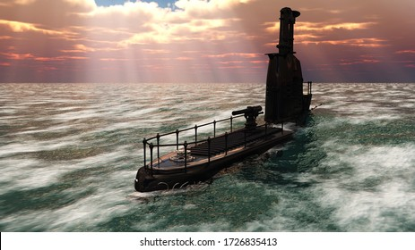 3D illustration or retro ornate submarine surfacing on ocean under dramatic sky with god rays