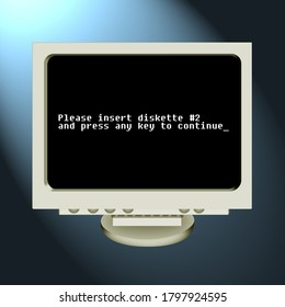 3D illustration of retro screen asking to insert a diskette for installation