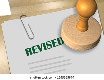 3D illustration of REVISED stamp title on business document or contract