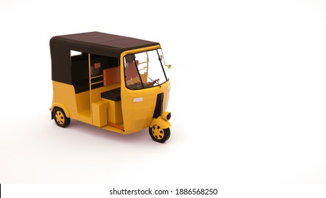 3d illustration of a rickshaw car, a vehicle for transporting people. Tuk tuk car, design element isolated on white background.