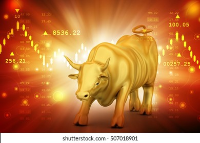 3d illustration of Rising golden business bull