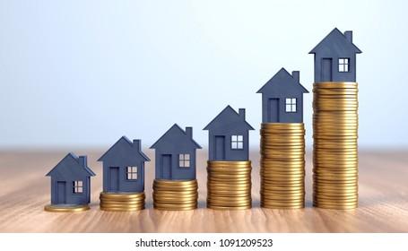 3D-Illustration steigende Häuserpreise