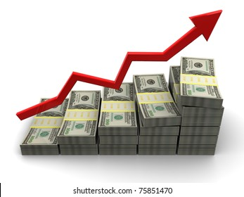 3d illustration of rising money charts, business success concept