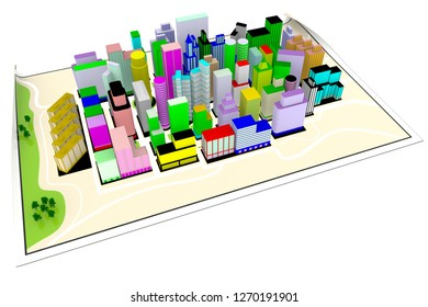 3D illustration. Road map. Cities, skyscrapers and homes placed on the map.