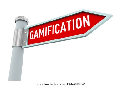 3d illustration of road sign of word text gamification