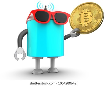 3d illustration of robot with with bitcoin over white background