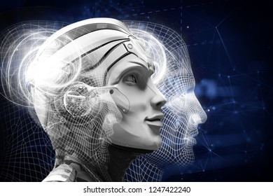 3d illustration of robot head. IT technology. Artificial intelligence. Artificial Intelligence. Future Be on the top. Life