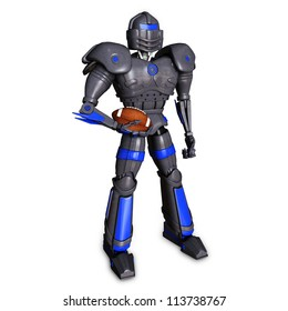 3d illustration of a robot holding a football.