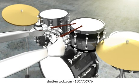 3D Illustration of Robot Playing the Drums