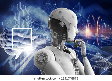 3D illustration. The robot is thinking. New technologies. IT technology. The brain of man. Development of new technologies.
