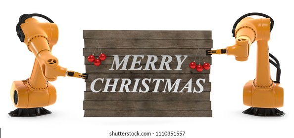 3d illustration robotic arms Merry Christmas